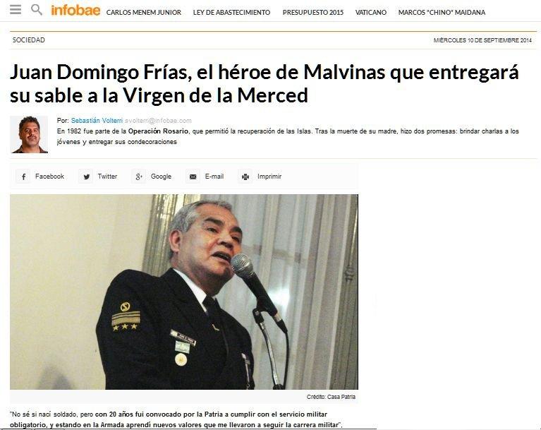 Fascímil del reportaje al VGM Frías en Infobae