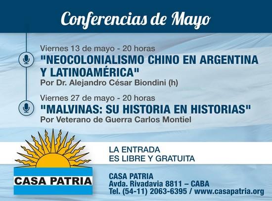 Ciclo de conferencias del mes de Mayo 2016 en Casa Patria